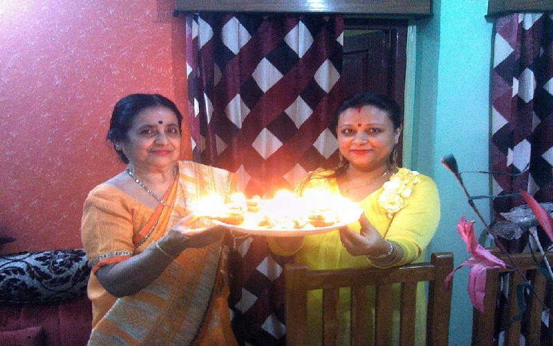 Deepawali Tradion of 14 Diyas 14 Spinach